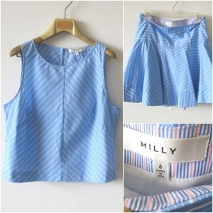 MILLY BLUE STRIPED TOP & FLARE SKIRT SET Sz-6